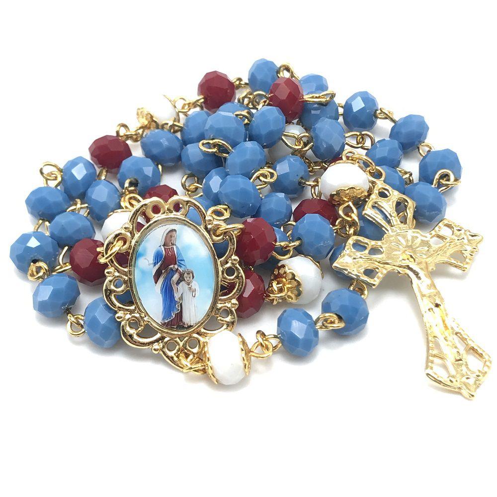 Terço Maria Passa na Frente Elegance Azul
