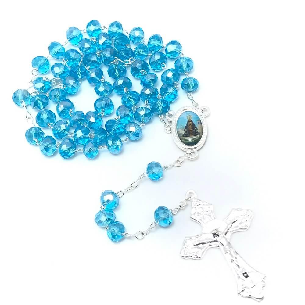 Terço Nossa Senhora Aparecida Cristal Acrílico Azul 8 mm