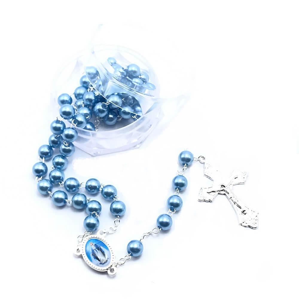 Terço Nossa Senhora Das Graças Pérola Azul 8Mm