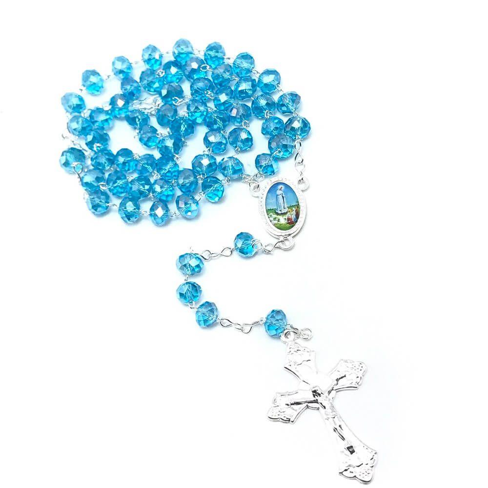 Terço Nossa Senhora de Fátima Cristal Acrílico Azul 8 mm