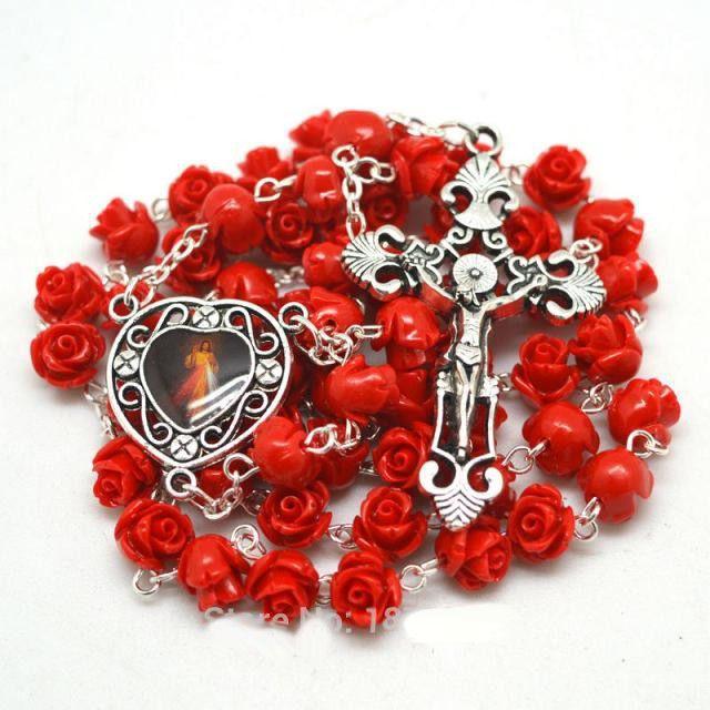Terço Rosário Vermelho Coral Flor