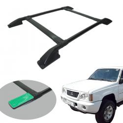 Bagageiro de teto tubular preto sem furar L200 GL 1999 a 2005 ou L200 GLS 1999 a 2007