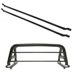 Barras de proteção de vidro alumínio preta para Santo Antônio universal kit 2 peças