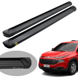 Estribo plataforma alumínio preto Fiat Toro 2017 2018 2019