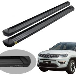 Estribo plataforma alumínio preto Jeep Compass 2017 2018 2019