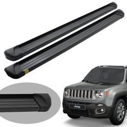 Estribo plataforma alumínio preto Jeep Renegade 2016 2017 2018 2019