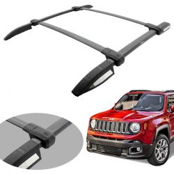 Kit longarina e travessa de teto Jeep Renegade 2016 2017 2018 2019 Bepo Elite preto