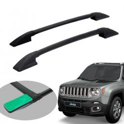 Longarina de teto Solar alumínio colada preta Jeep Renegade 2016 a 2021
