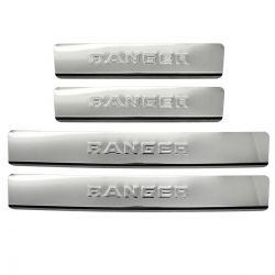 Protetor de soleira aço inox Nova Ranger cabine dupla 2013 a 2020
