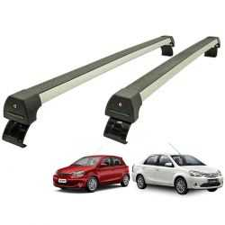Rack de teto Etios Hatch ou Sedan 2013 a 2020 Long Life Sports anodizado