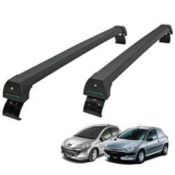 Rack de teto Peugeot 206 1999 a 2009 e Peugeot 207 2010 a 2015 4 portas Long Life Sports preto