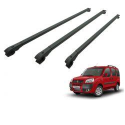 Travessa rack de teto alumínio preta Doblo 2002 a 2018 kit 3 peças
