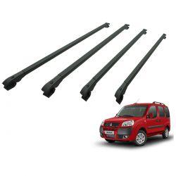 Travessa rack de teto alumínio preta Doblo 2002 a 2020 kit 4 peças