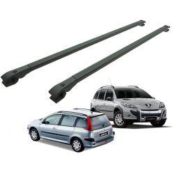 Travessa rack de teto alumínio preta Peugeot 206 SW, 207 SW ou 207 Escapade