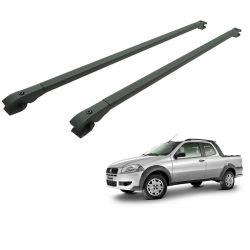 Travessa rack de teto alumínio preta Strada 2001 a 2020 cabine estendida ou dupla