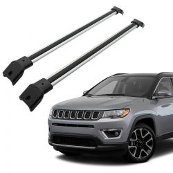 Travessa rack de teto Jeep Compass 2017 2018 2019 2020 larga anodizada