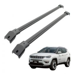 Travessa rack de teto Jeep Compass 2017 2018 2019 larga preta