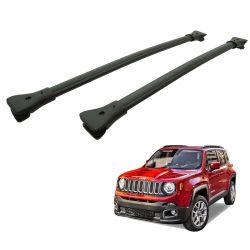 Travessa rack de teto larga preta alumínio Jeep Renegade 2016 a 2020
