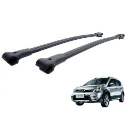 Travessa rack de teto larga preta alumínio Livina X Gear 2010 a 2015
