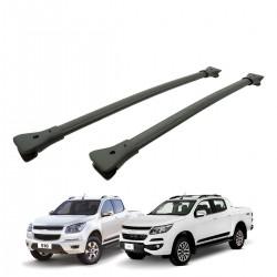 Travessa rack de teto larga preta alumínio Nova S10 cabine dupla 2012 a 2020