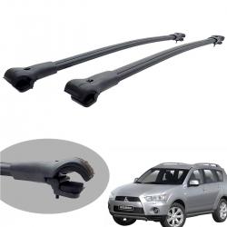 Travessa rack de teto larga preta alumínio Outlander 2008 a 2013