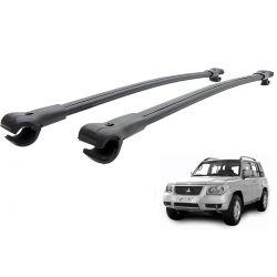 Travessa rack de teto larga preta alumínio Pajero TR4 2007 a 2009