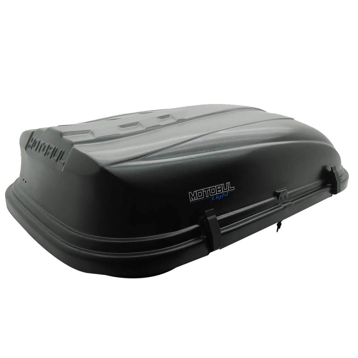 Bagageiro de teto maleiro com chave Motobul 380 litros preto modelo Light