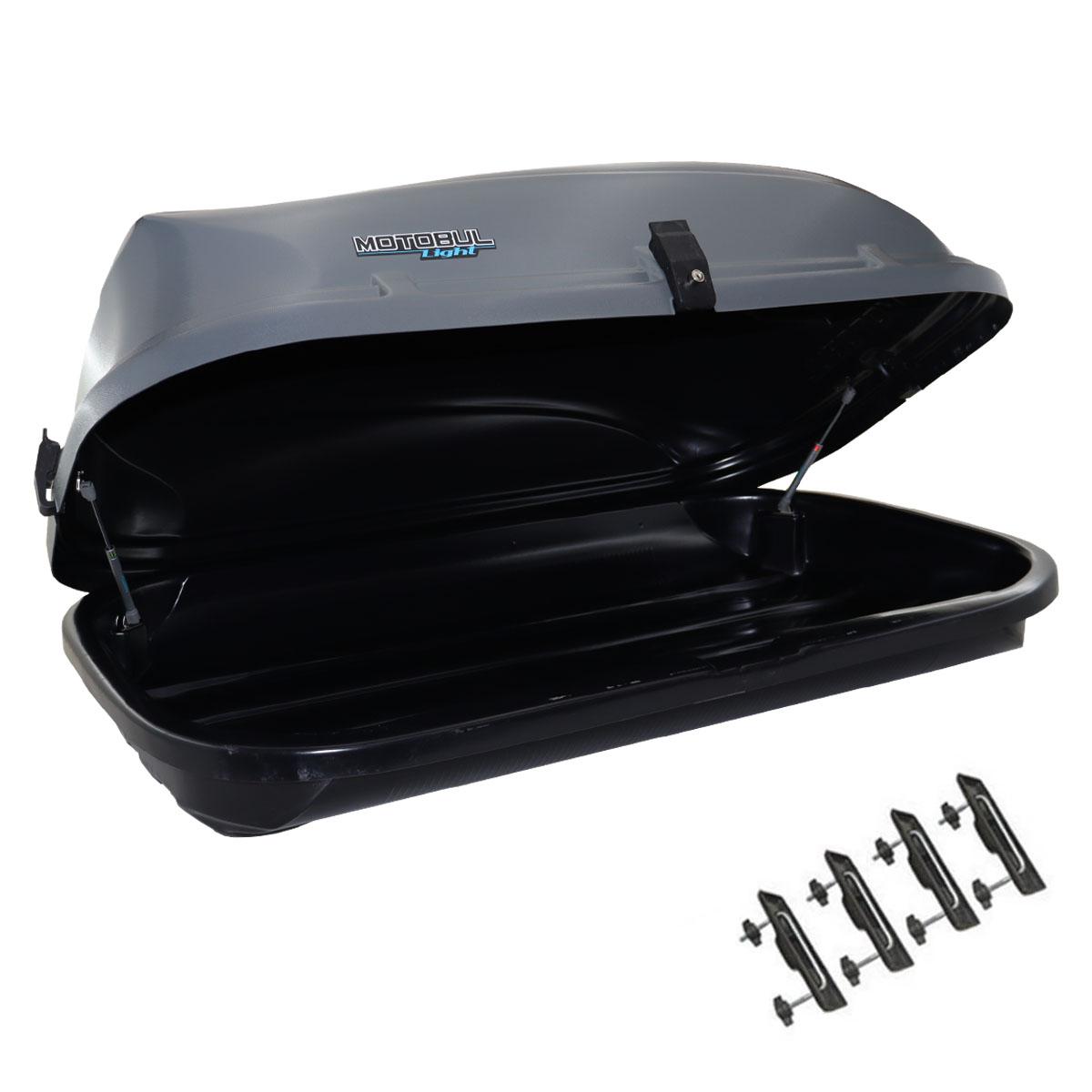 Bagageiro de teto maleiro com chave Motobul 460 litros cinza modelo Light