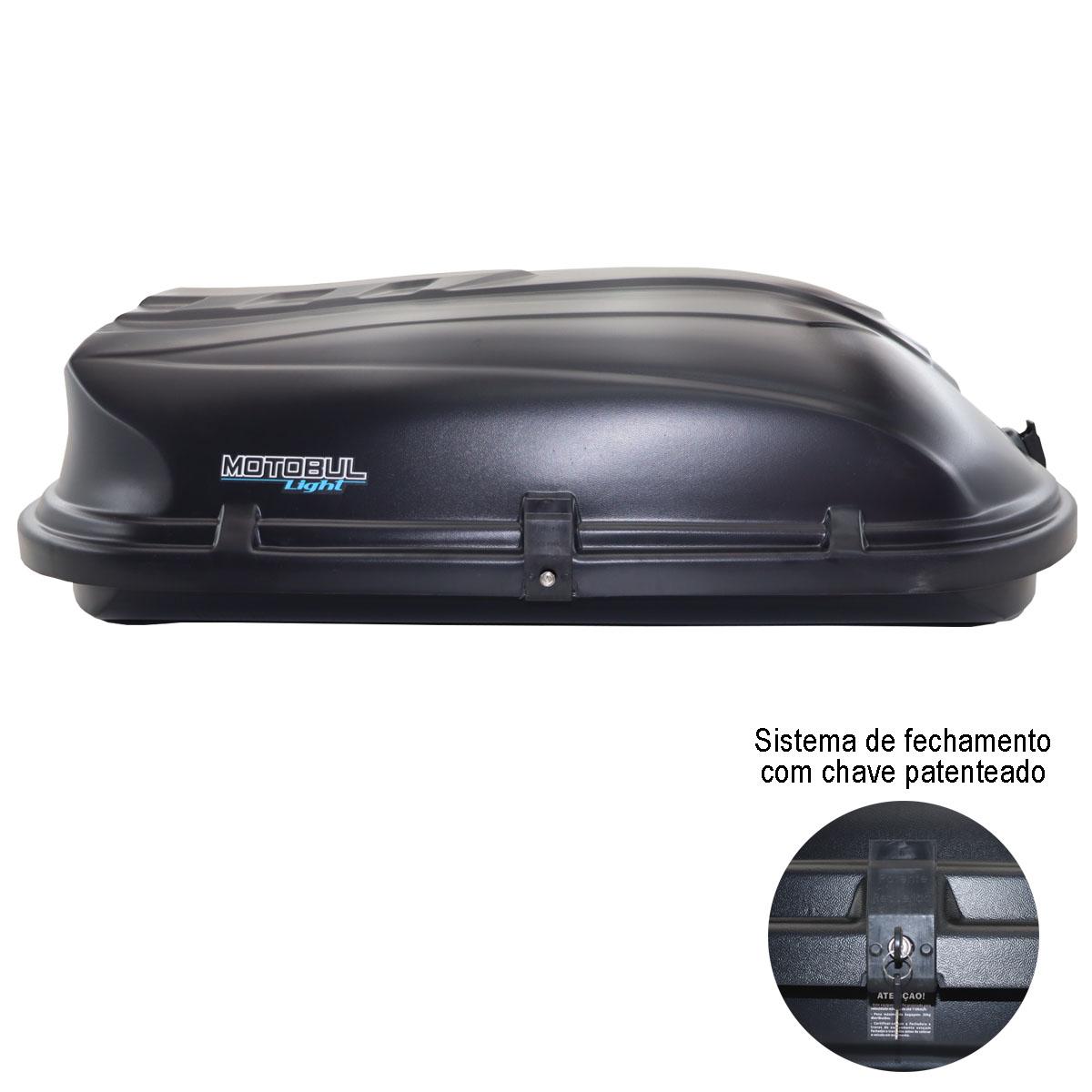 Bagageiro de teto maleiro com chave Motobul 460 litros preto modelo Light