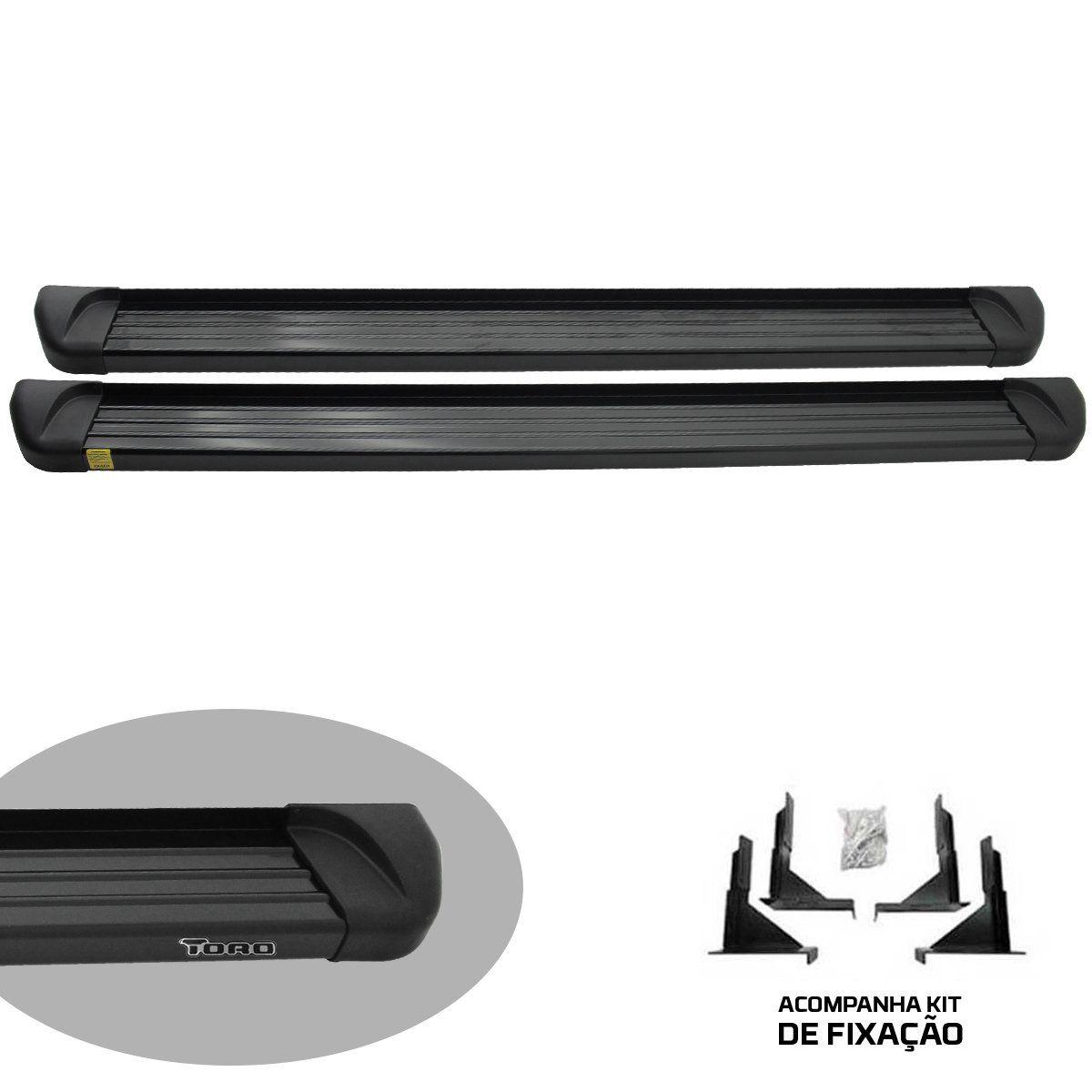 Estribo Track plataforma alumínio preto Fiat Toro 2017 a 2022