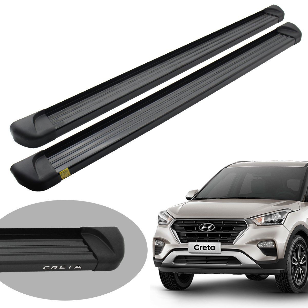 Estribo Track plataforma alumínio preto Hyundai Creta 2017 a 2021