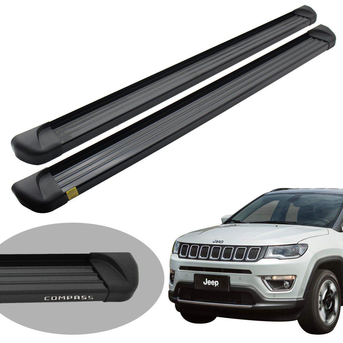 Estribo Track plataforma alumínio preto Jeep Compass 2017 a 2021