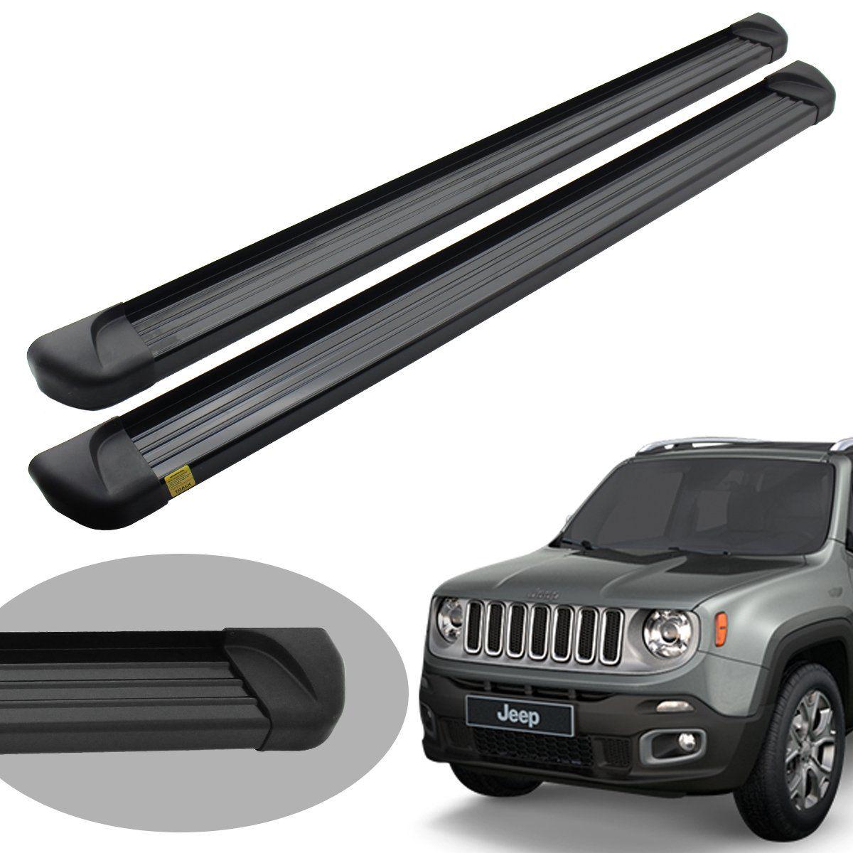 Estribo plataforma alumínio preto Jeep Renegade 2016 a 2021