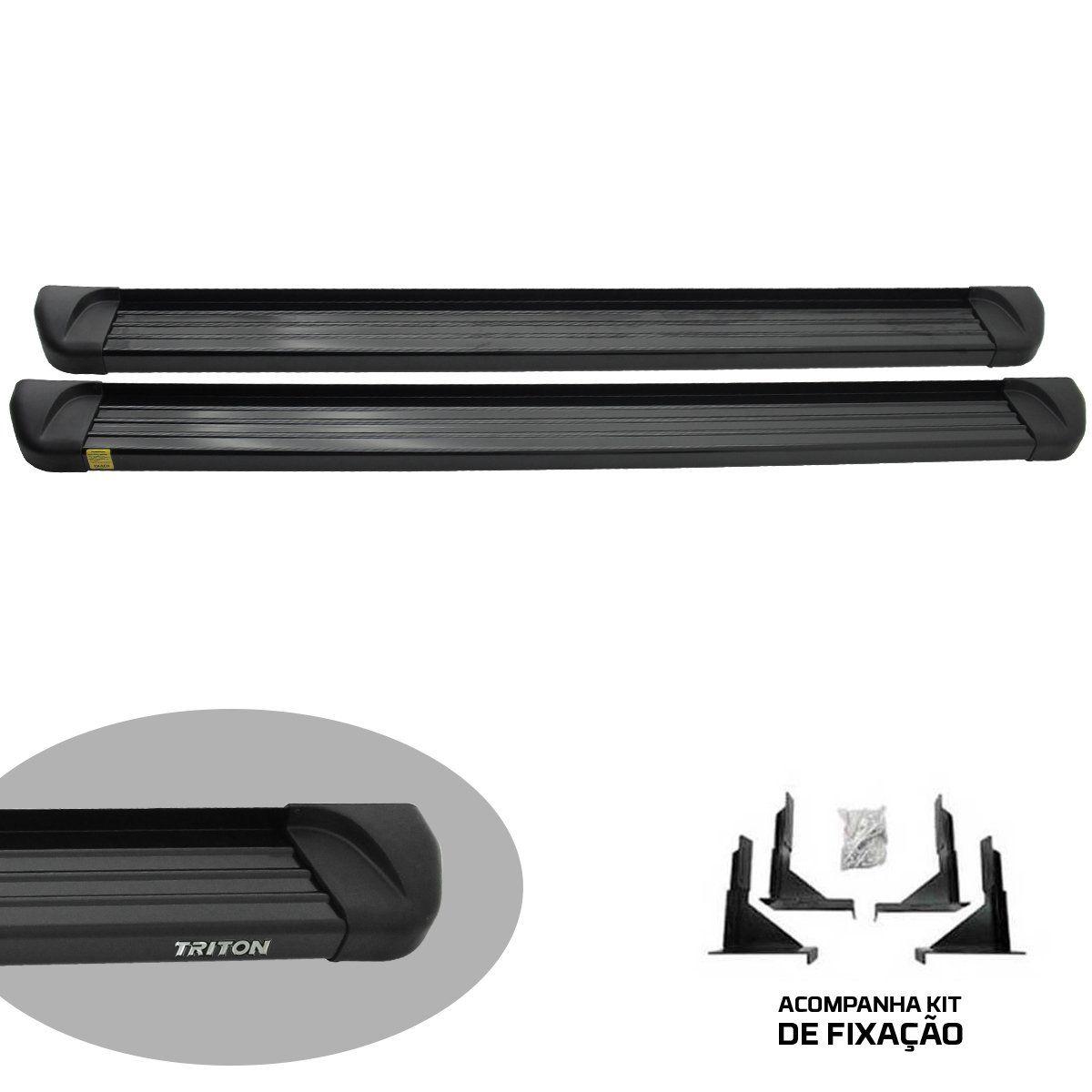 Estribo plataforma alumínio preto L200 Triton 2008 a 2016