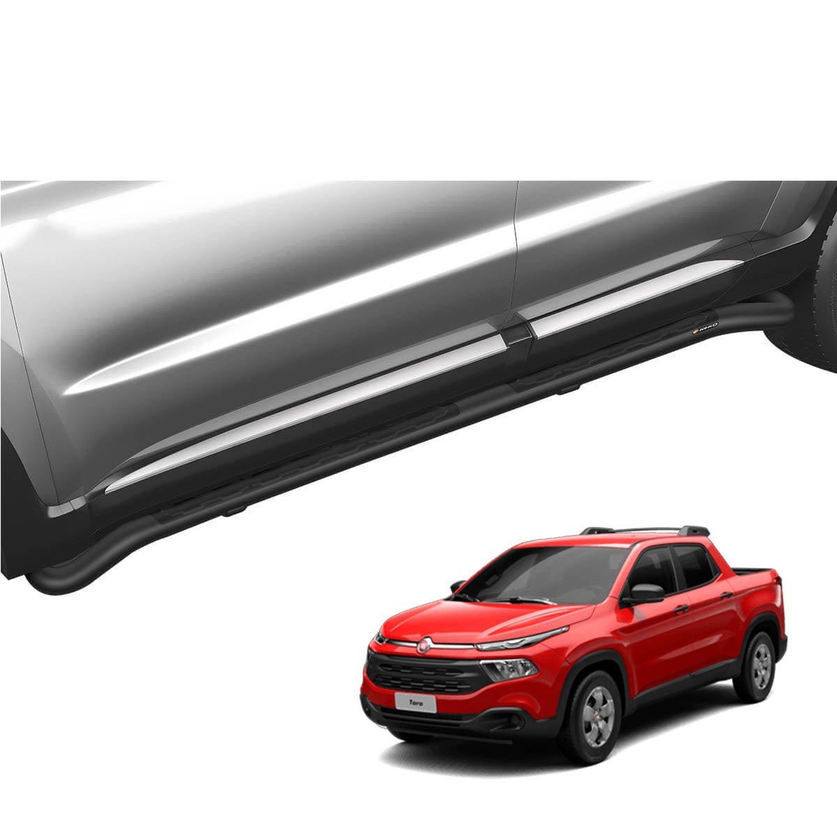 Estribo tubular Keko preto Fiat Toro 2017 a 2021