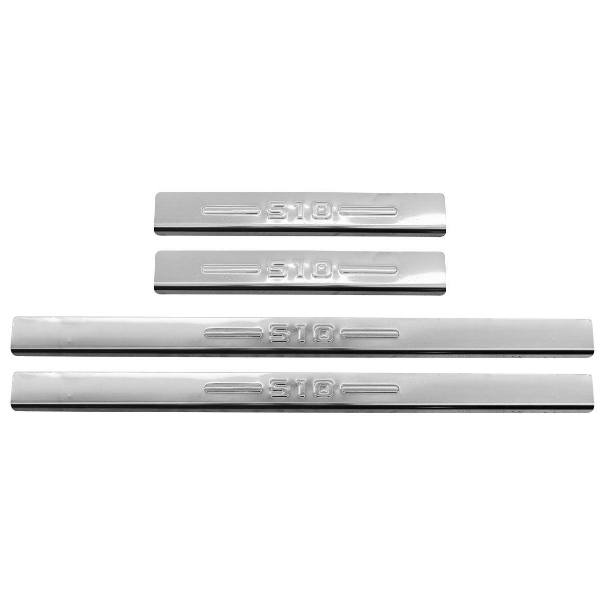 Protetor de soleira aço inox Nova S10 cabine dupla 2012 a 2021