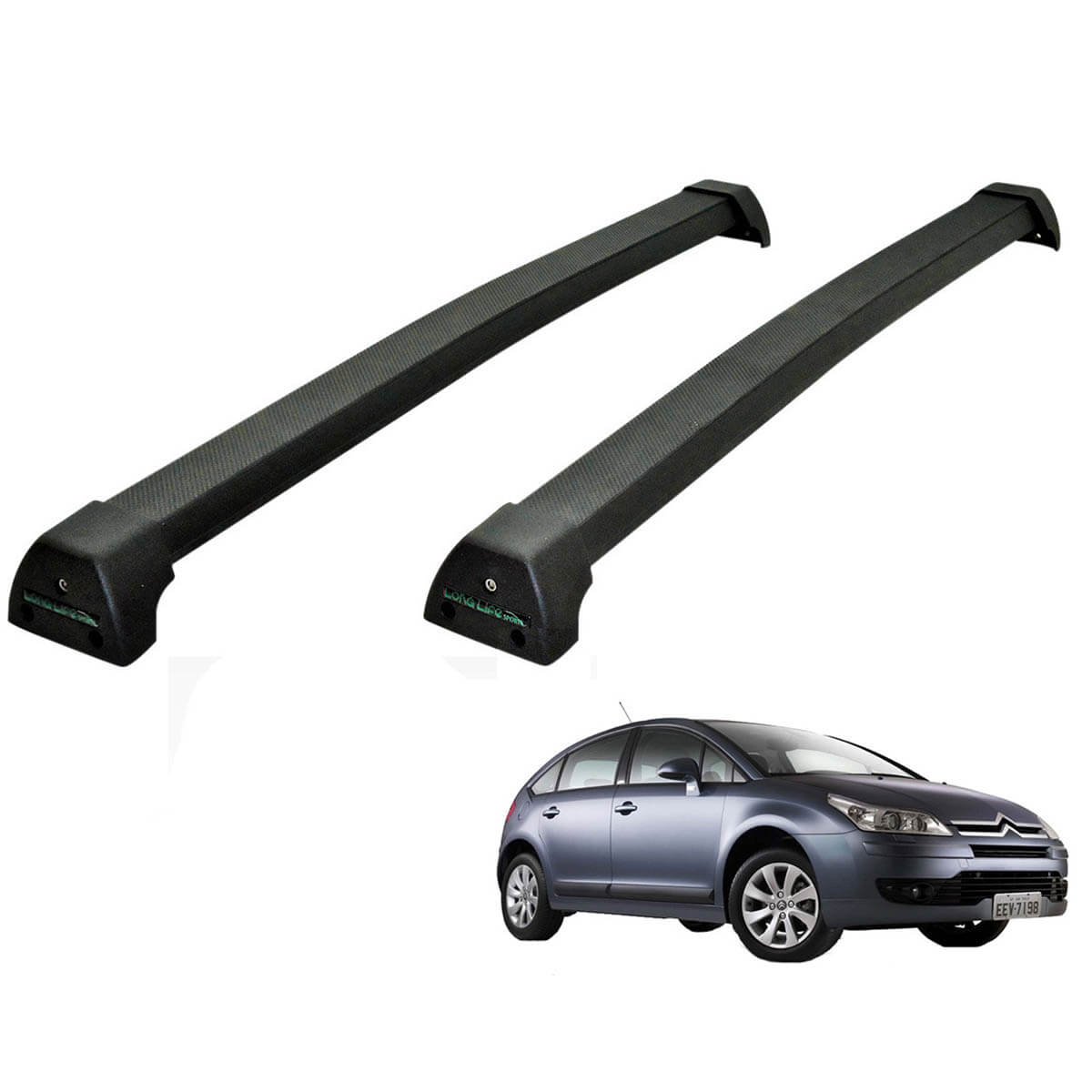 Rack de teto C4 Hatch 2009 a 2014 Long Life Sports preto