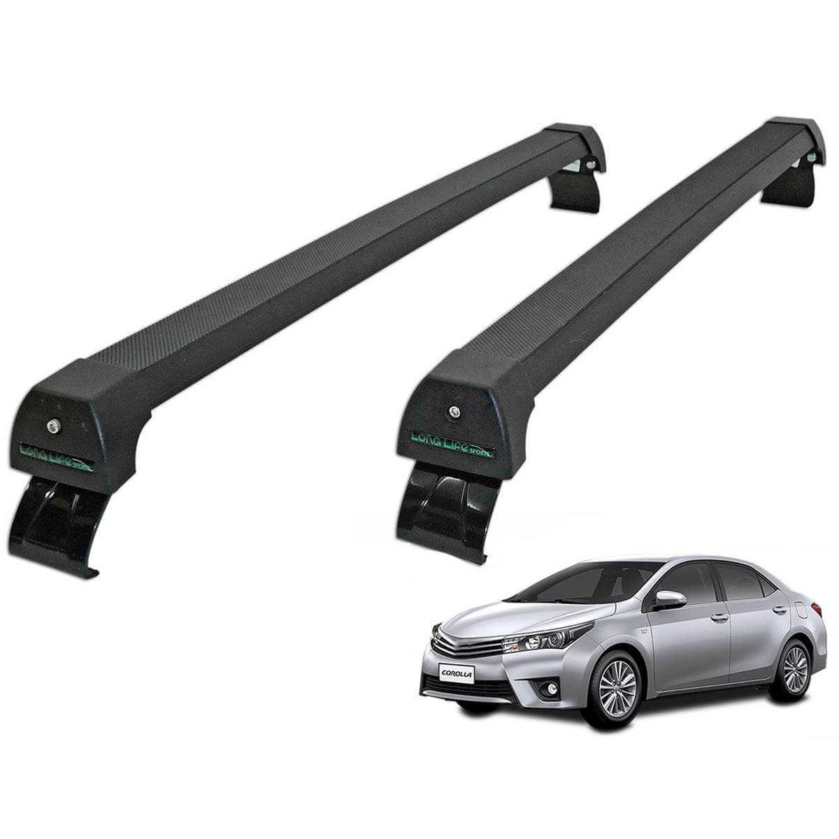 Rack de teto Corolla 2015 a 2019 Long Life Sports preto