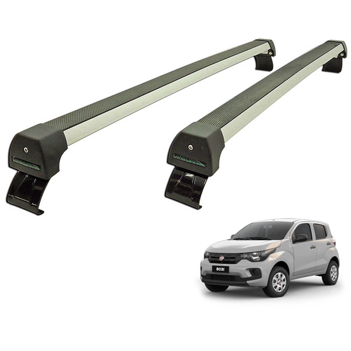 Rack de teto Fiat Mobi 2017 2018 2019 2020 Long Life Sports anodizado