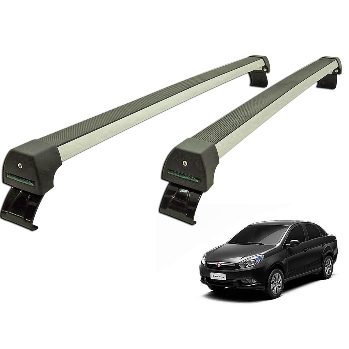 Rack de teto Grand Siena 2012 a 2020 Long Life Sports anodizado