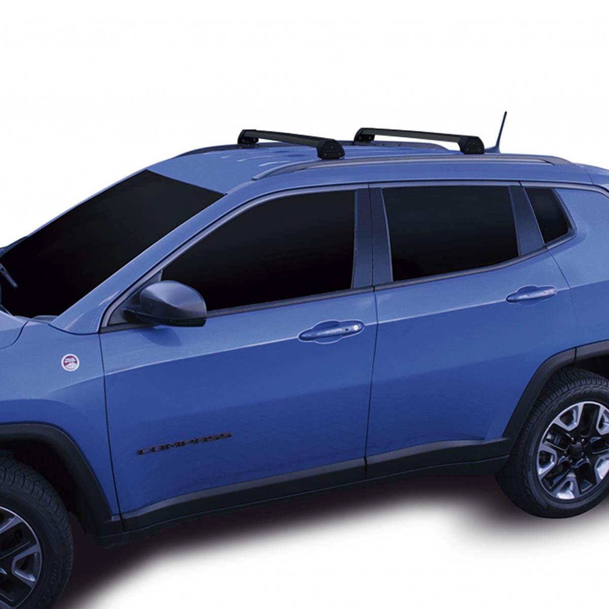 Rack de teto Long Life Sports preto Jeep Compass 2017 a 2022