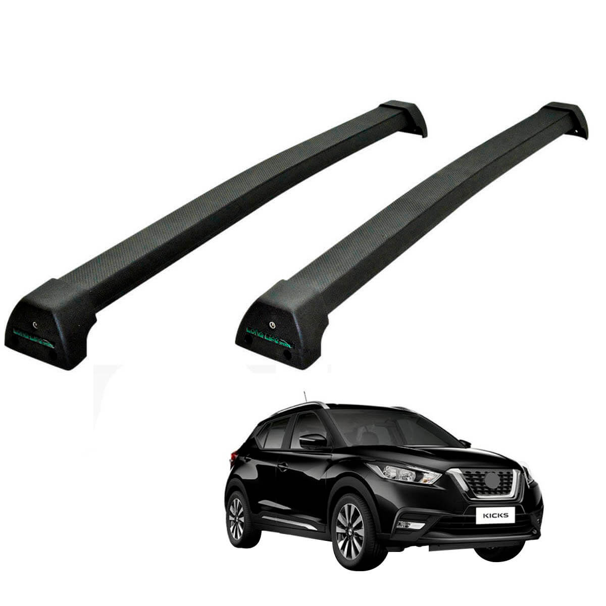 Rack de teto Long Life Sports preto Nissan Kicks 2017 a 2021