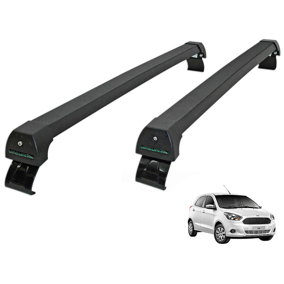 Rack de teto Novo Ka hatch ou sedan 2015 a 2021 Long Life Sports preto