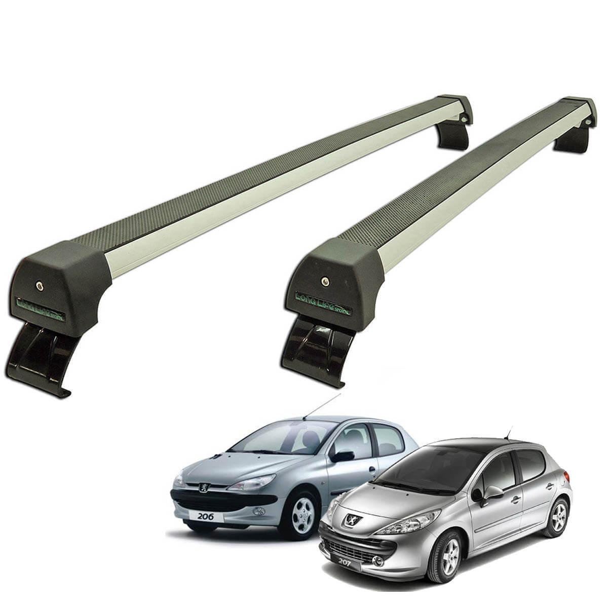 Rack de teto Long Life Sports Peugeot 206 1999 a 2009 e Peugeot 207 2010 a 2015 4 portas