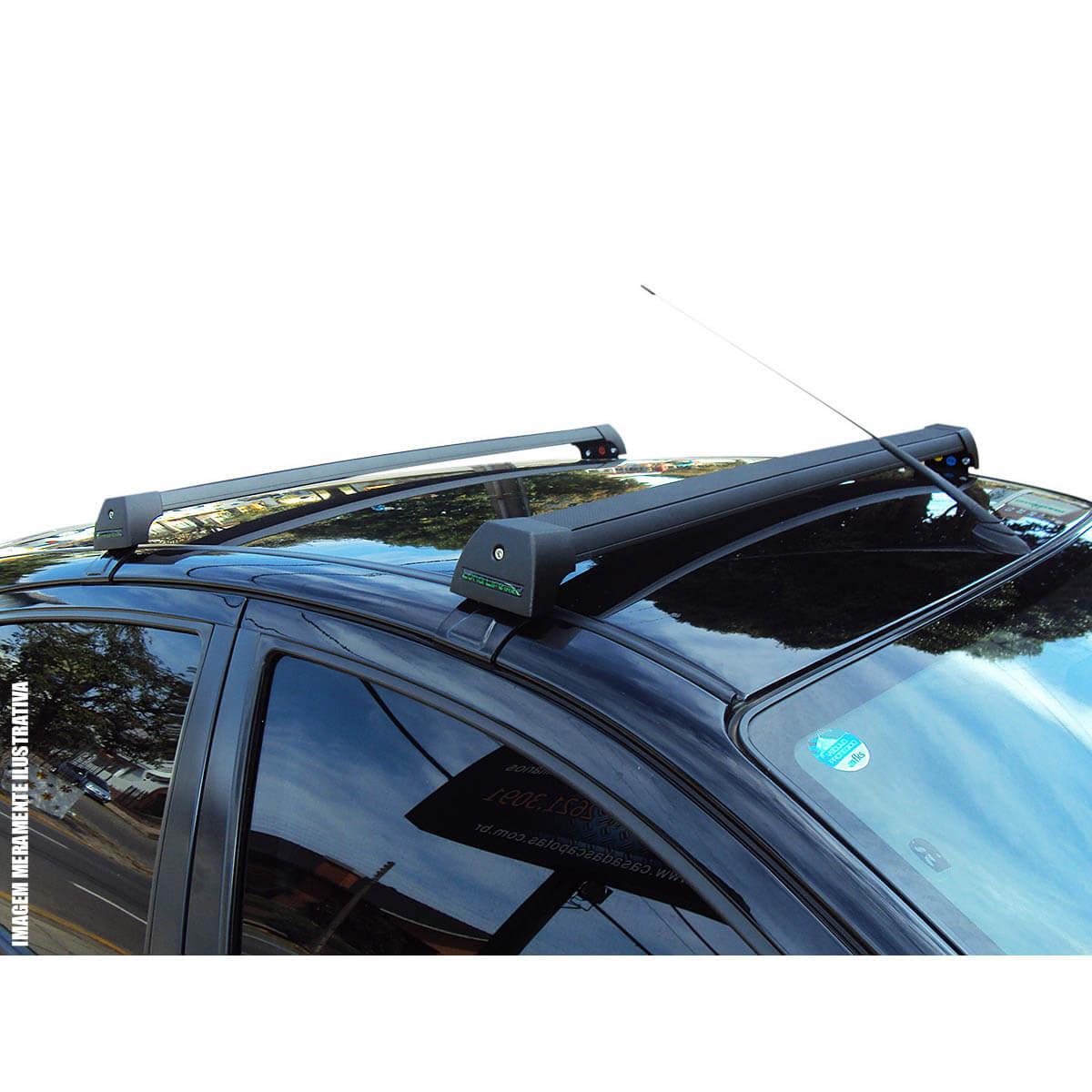 Rack de teto Long Life Sports preto Peugeot 208 2013 a 2020