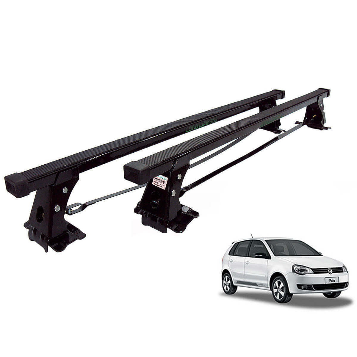 Rack de teto Long Life Aço Polo hatch ou sedan 2003 a 2015
