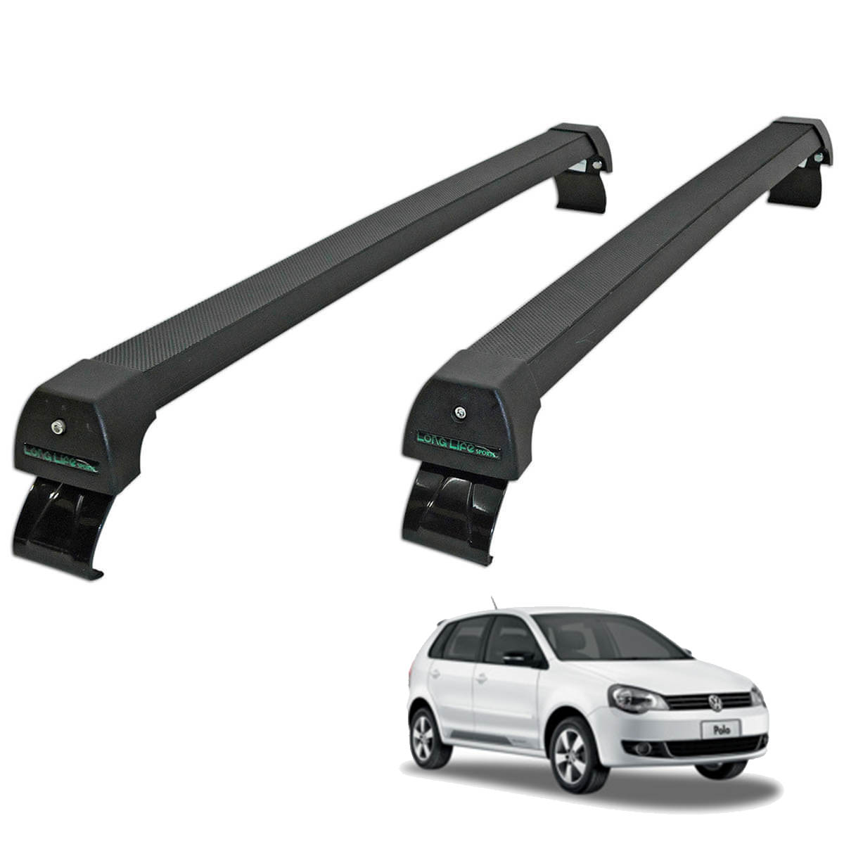 Rack de teto Polo hatch ou sedan 2003 a 2015 Long Life Sports preto