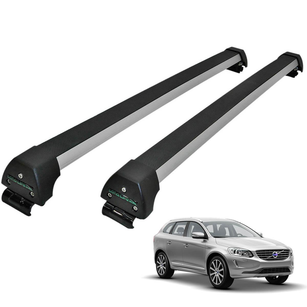 Rack de teto Volvo XC60 2009 a 2016 Long Life Sports anodizado