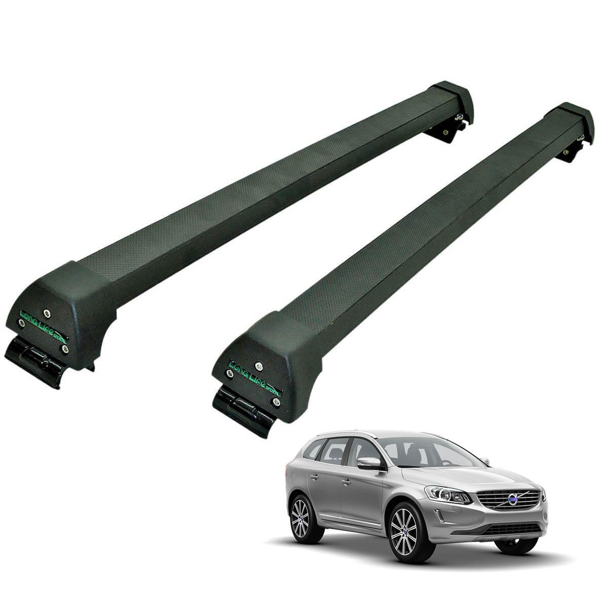 Rack de teto Volvo XC60 2009 a 2016 Long Life Sports preto