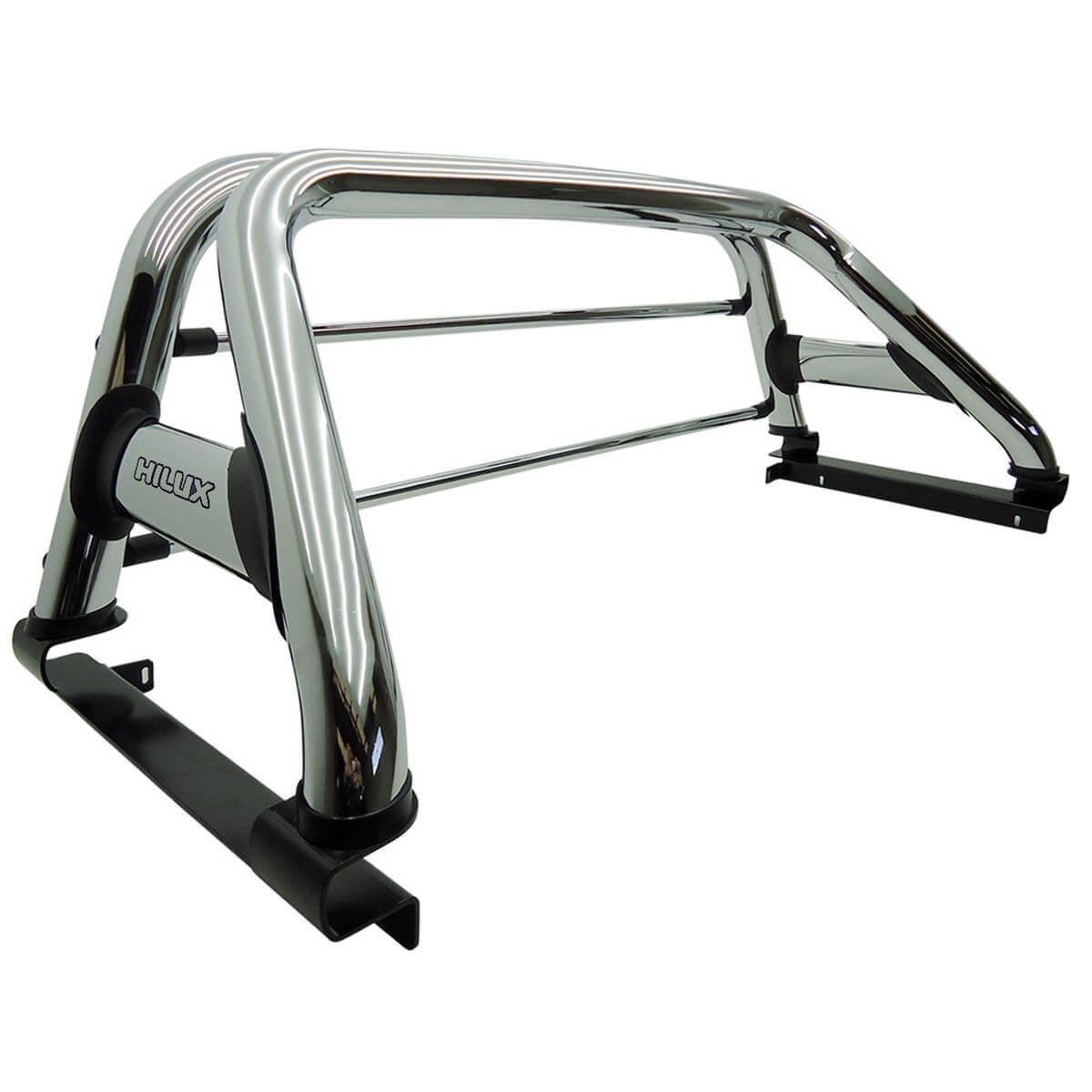 Santo antônio Track duplo cromado Hilux 2005 a 2015 com barras de vidro inox